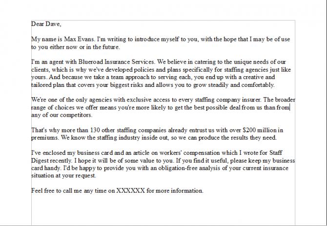 Sales Prospecting Letter