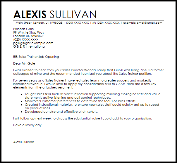 Sales Trainer Cover Letter Sample