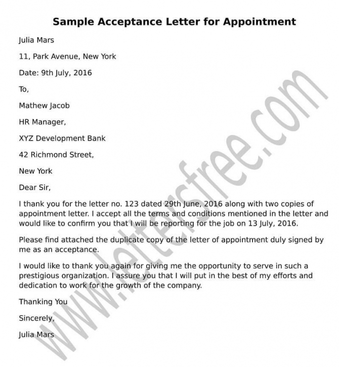 Sample Acceptance Letter For Appointment  Format Job Acceptance