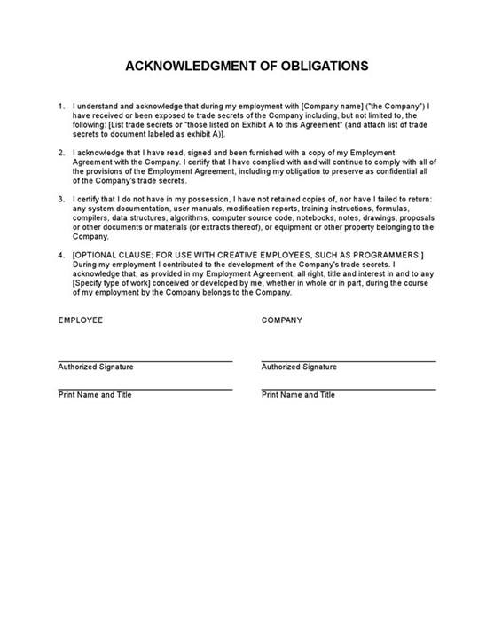 Sample Acknowledgement Of Obligations Template