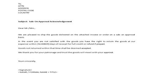 Sample Acknowledgement Of Sale Letter Format