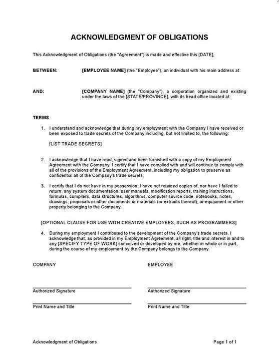 Sample Acknowledgment Of Obligations Template