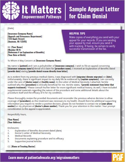 Sample Appeal Letter For Denied Claim