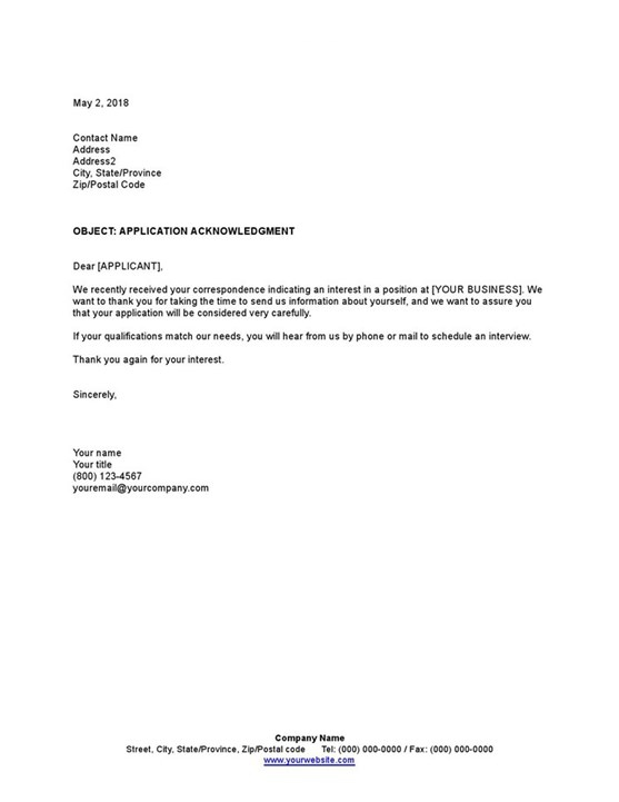 Sample Application Acknowledgment Template