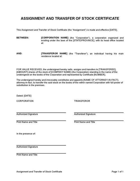 Sample Assignment And Transfer Of Stock Certificate Template
