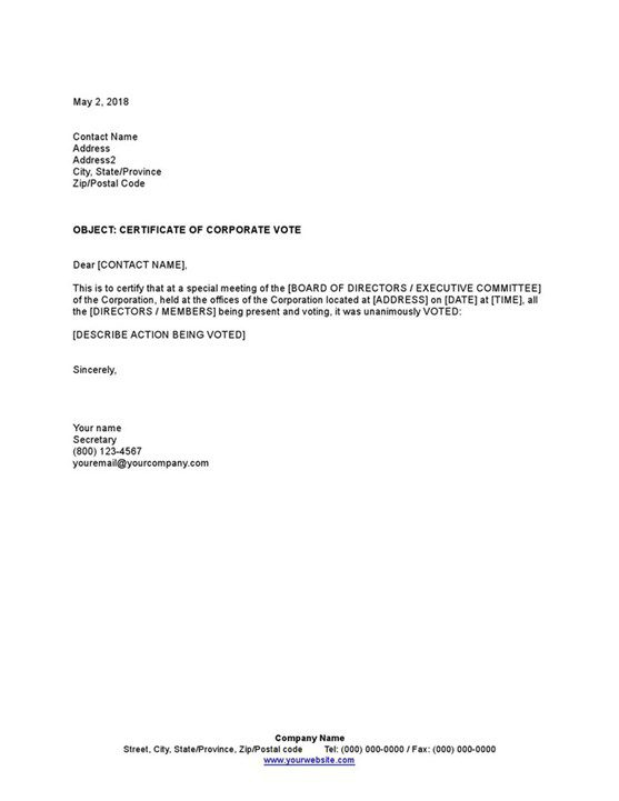 Sample Certificate Of Corporate Vote Template