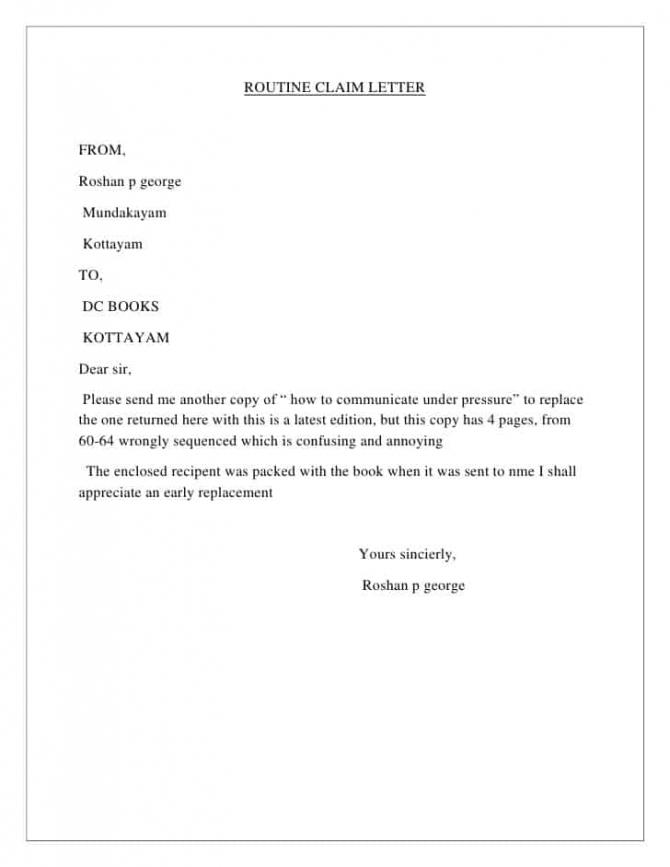 Sample Claim Letters