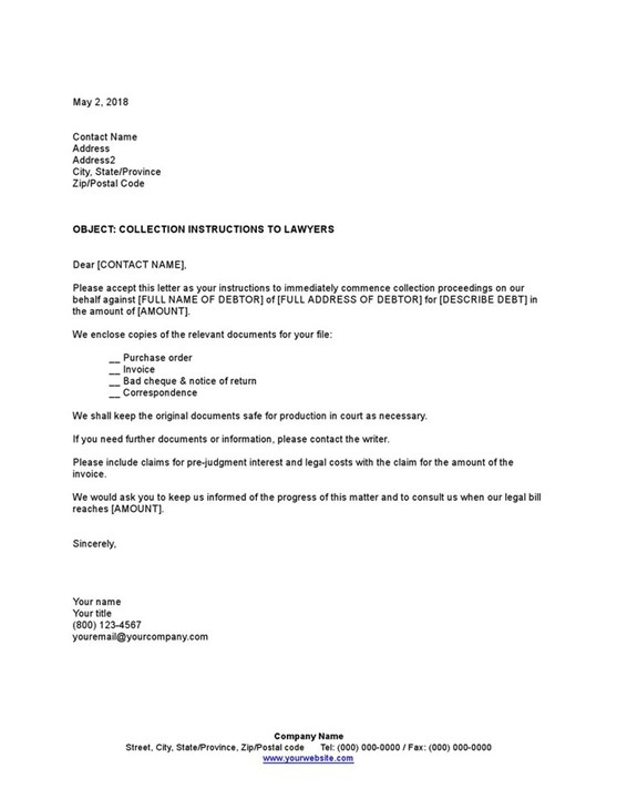 Sample Collection Instructions To Lawyers Template