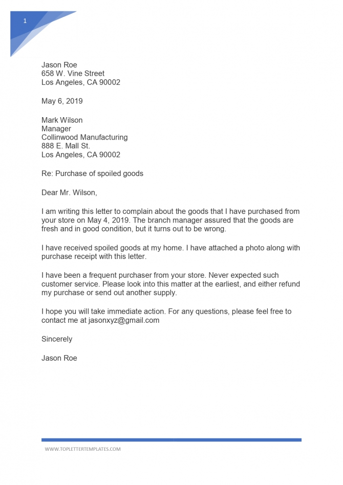 Sample Complaint Letter Example For Bad Product