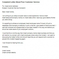 Business Complaint Letter For Poor Service