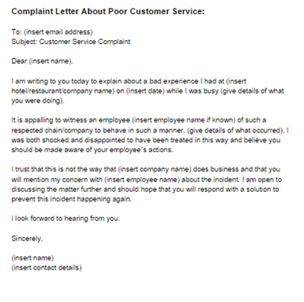 Sample Complaint Letter For Bad Service Template With Example