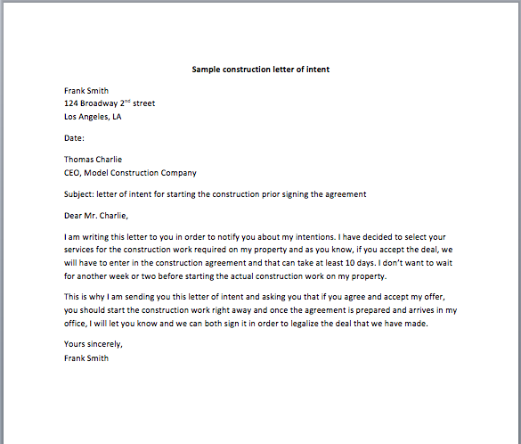 Sample Construction Letter Of Intent