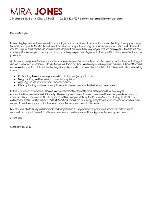 Sample Cover Letter For A Lawyer