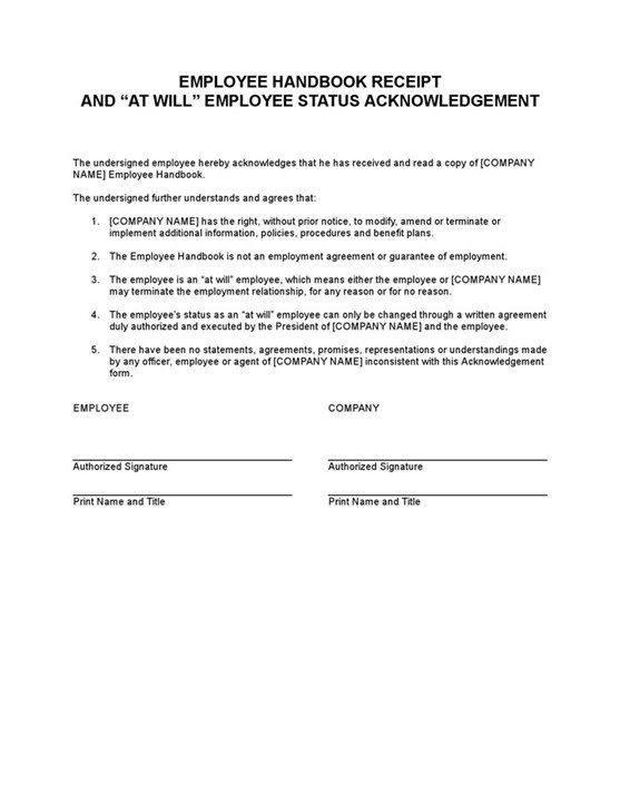 Sample Employee Handbook Receipt Acknowledgement Template