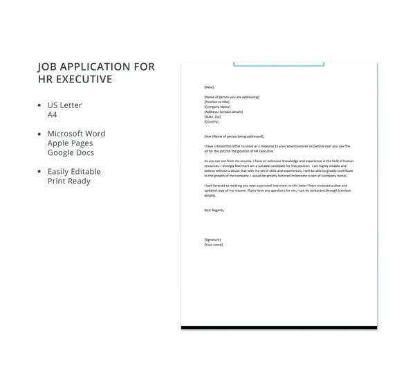 Sample Hr Job Application Letters