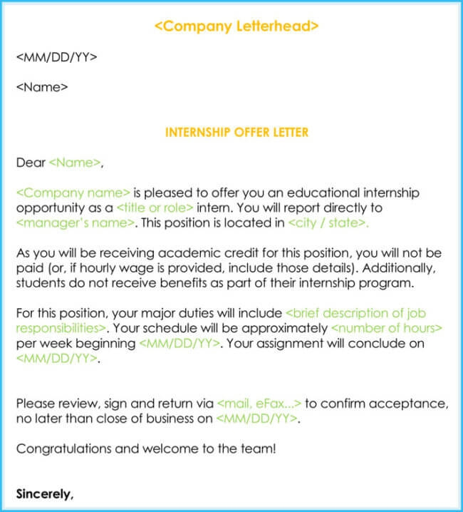 Sample Internship Offer   Appointment Letters  Templates   Formats