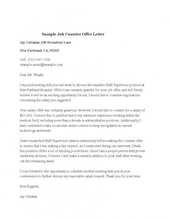 Sample Job Counter Offer Letter