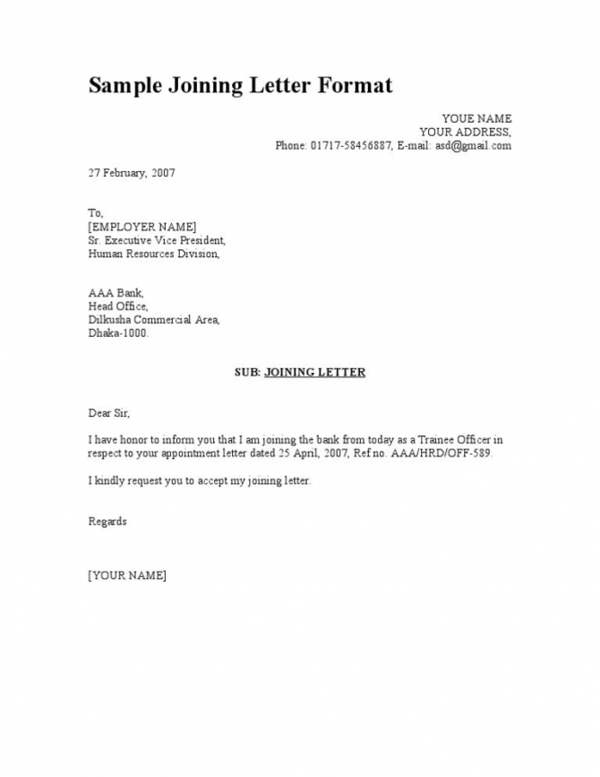 Sample Joining Letter Format School Teacher Appointment Letters
