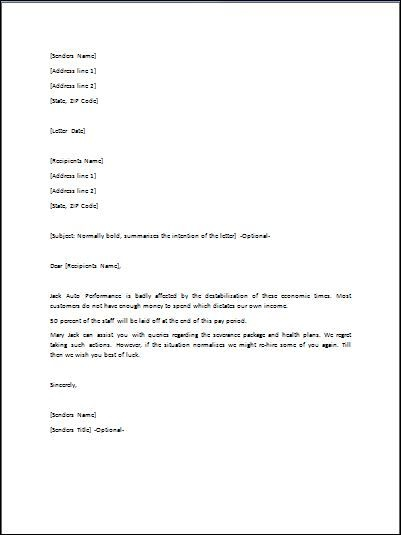 Sample Layoff Letter Template