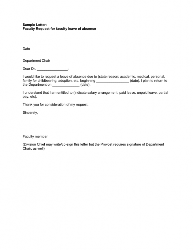Sample Letter Faculty Request For Faculty Leave Of Absence Date