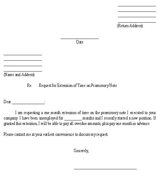 Sample Letter For Request For Extension Of Time On Promissory Note