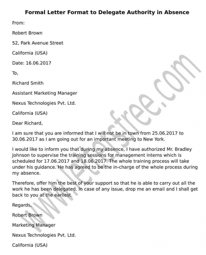 Sample Letter Format To Delegate Authority In Absence