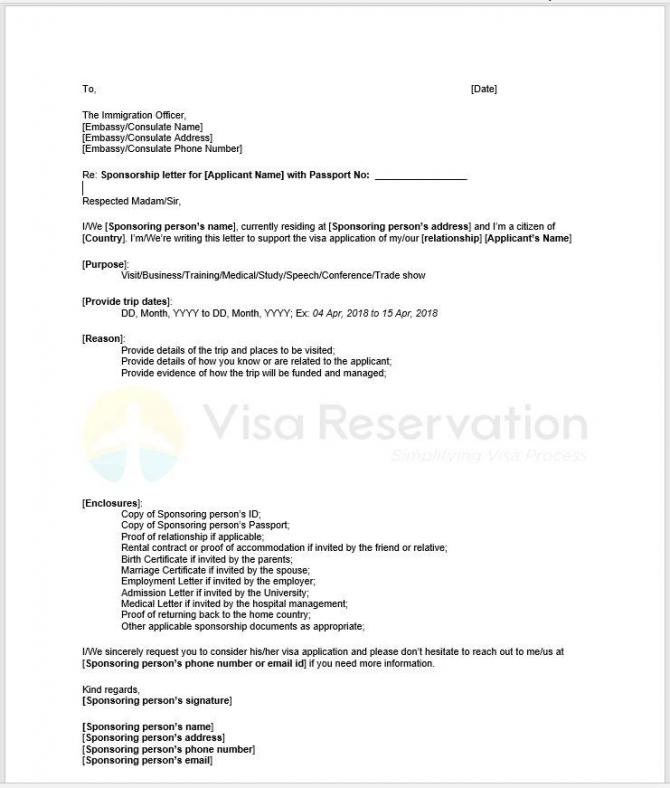 Sample Letter From Sponsor For Visa