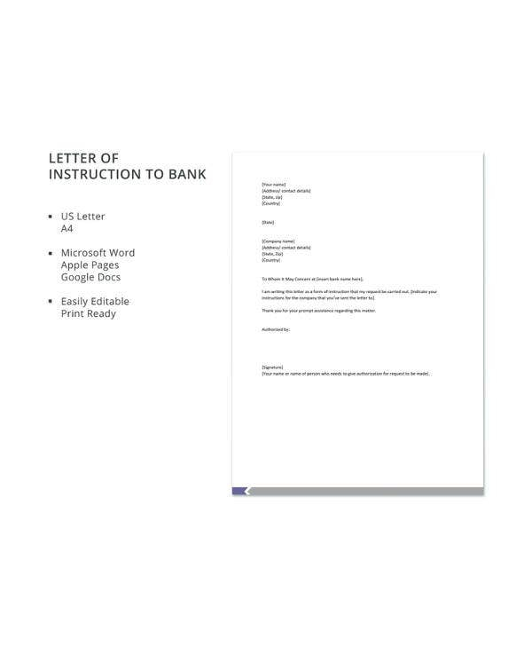 Sample Letter Of Instruction Templates