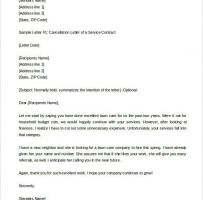 Service Contract Cancellation Letter
