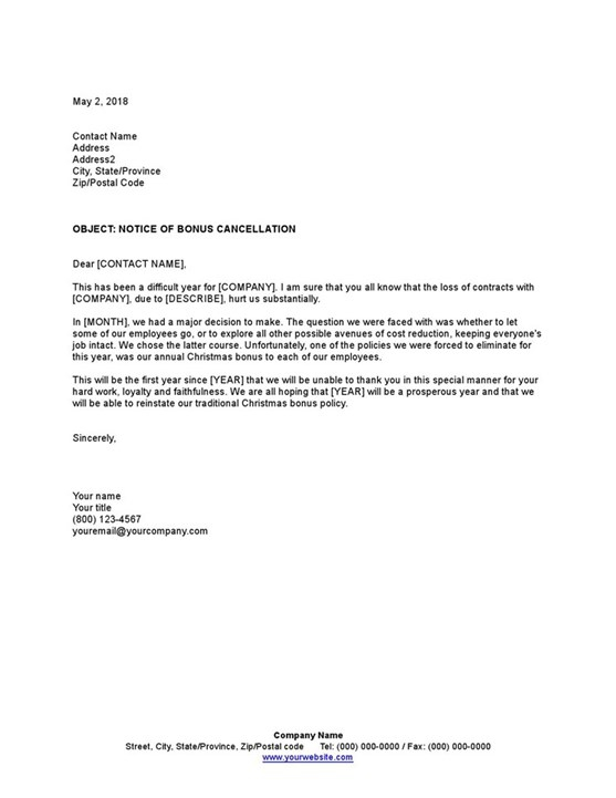 Sample Notice To Employees Of Bonus Cancellation Template