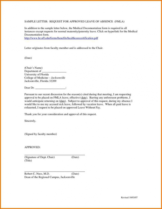 Sample Of A Leave Of Absence Letter