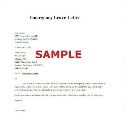Sample Of Emergency Leave Letter