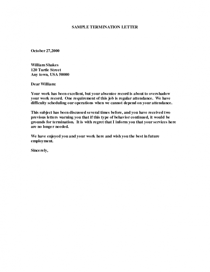 Sample Of Employee Termination Letter