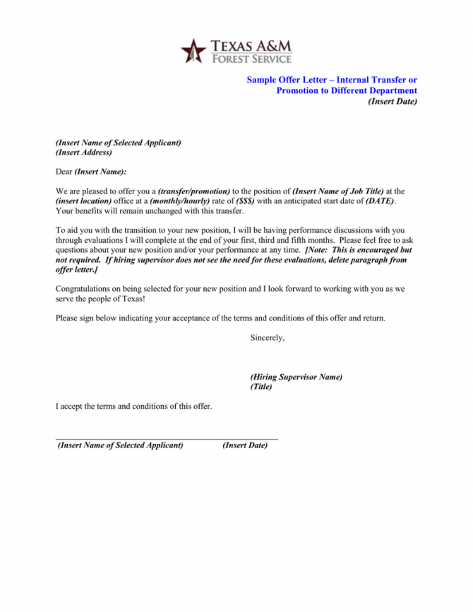 Sample Offer Letter  Internal Transfer Or Promotion To Different