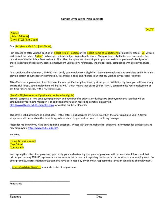 Sample Offer Letter Non