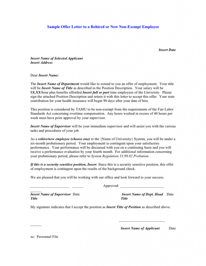 Sample Offer Letter To A Rehired Or New Non