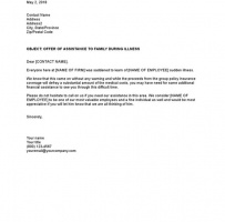 Offer Of Assistance To Family During Employee Illness