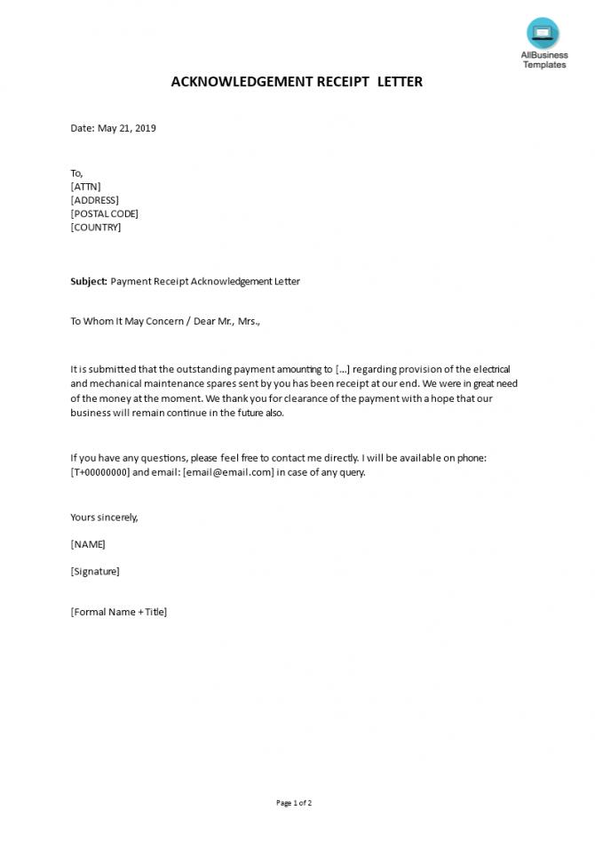 Sample Payment Receipt Acknowledgement Letter