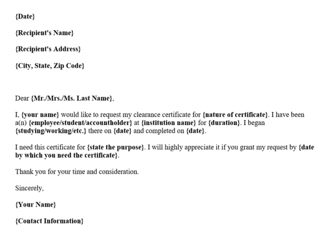 Sample Request Letter For Clearance Certificate With Template