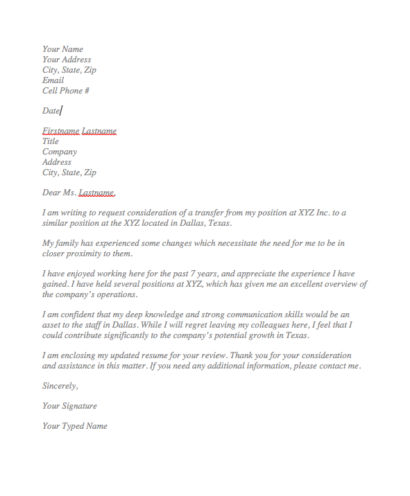 Sample Request Letter For Transfer To Another Location