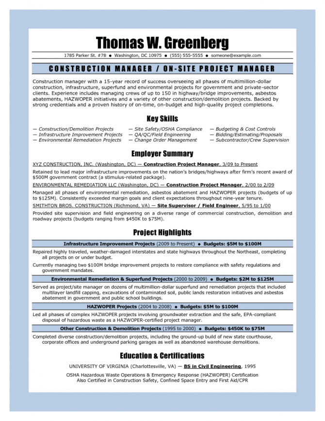 Sample Resume For Project Manager Construction