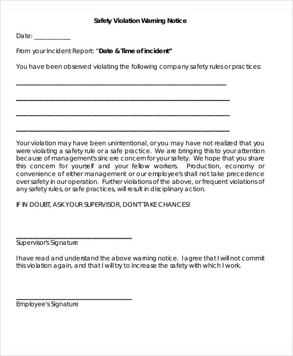 Sample Safety Warning Letter Templates