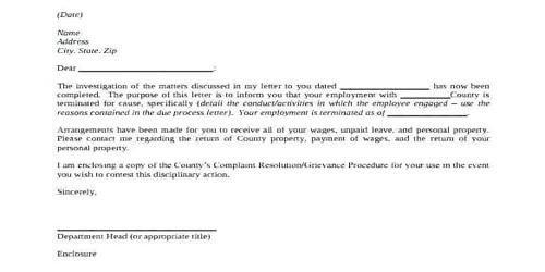 Sample Vendor Termination Letter Format