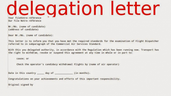 Samples Business Letters Delegation Letter Sample