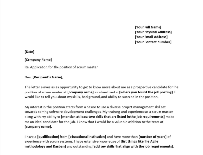 Scrum Master Cover Letter Writing Guide  Free Template