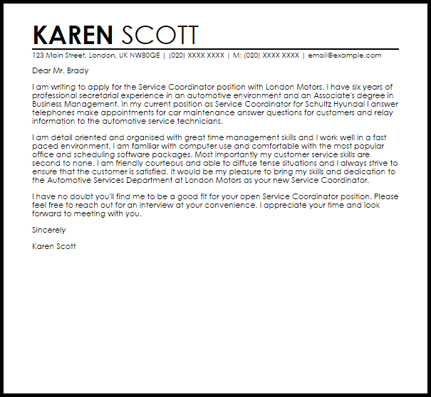 Service Coordinator Cover Letter Sample