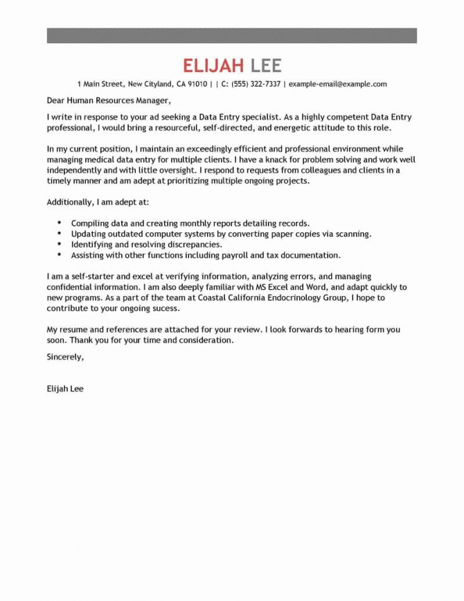 Simple Resume Cover Letter Template New Best Data Entry Cover