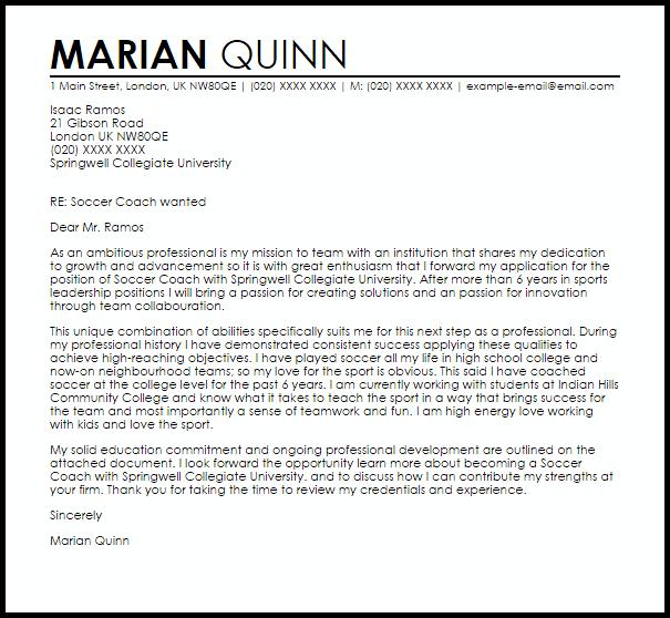 Soccer Coach Cover Letter Sample