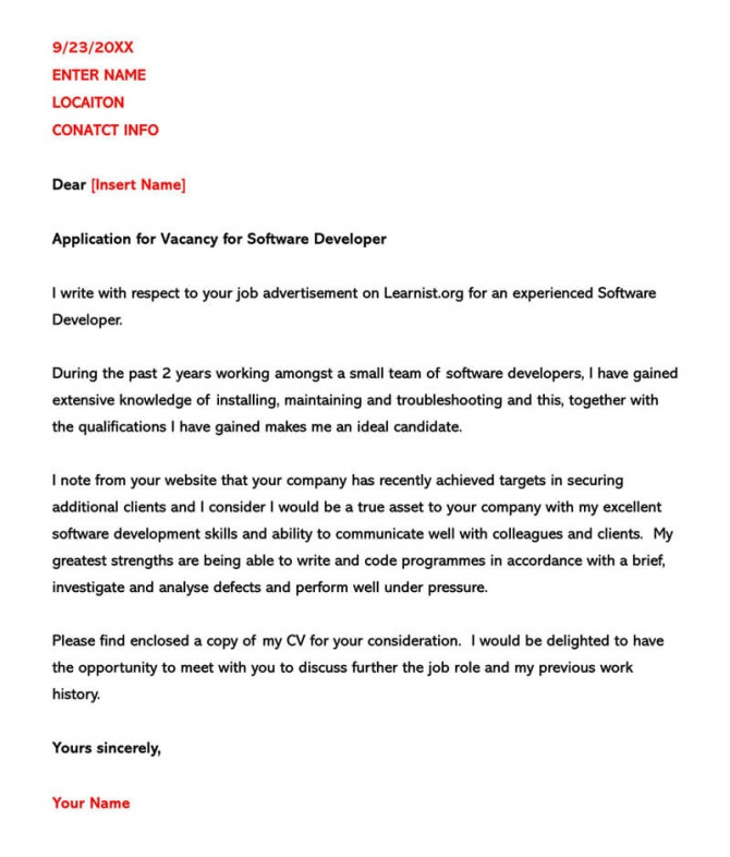 Software Developer Cover Letter Examples   Writing Tips