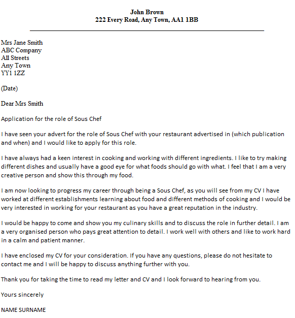Sous Chef Cover Letter Example